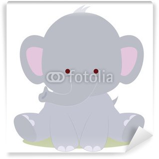 Vinyl Fotobehang Schattige baby olifant, kawaii stijl