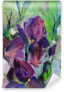 Vinyl Fotobehang Schilderij stilleven schilderen met olieverf textuur, irissen impressionisme een
