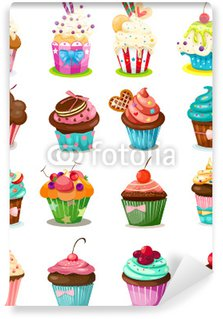 Vinyl Fotobehang Set van cupcake