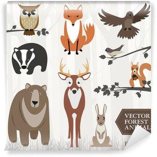 Vinyl Fotobehang Set van dieren in het bos. Vector
