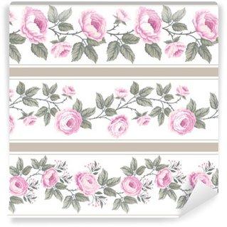 Vinyl Fotobehang Set van naadloze bloemen grenzen met rozen