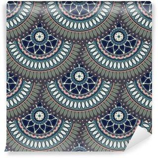 Vinyl Fotobehang Sierlijke bloemen naadloze textuur, eindeloos patroon met vintage mandala elementen.