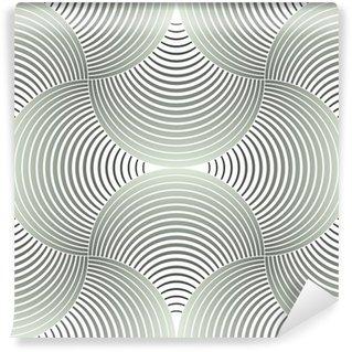 Vinyl Fotobehang Sierlijke Geometrische Bloemblaadjes Grid, Abstract Vector Naadloos Patroon