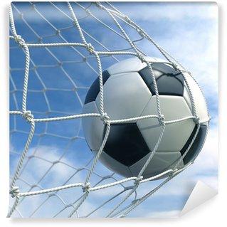 Vinyl Fotobehang Soccerball in netto