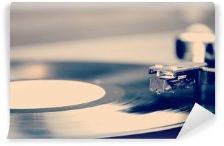 Vinyl Fotobehang Spinnen vinyl record. Motion blur beeld. Vintage afgezwakt.