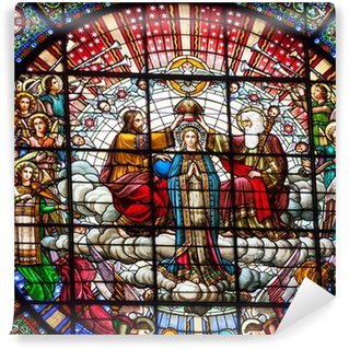 Vinyl Fotobehang Stained Glass Jezus Mary Rose Window klooster Montserrat