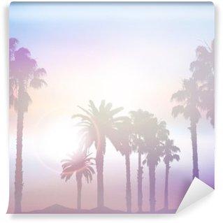 Vinyl Fotobehang Summer palmboom landschap met retro-effect
