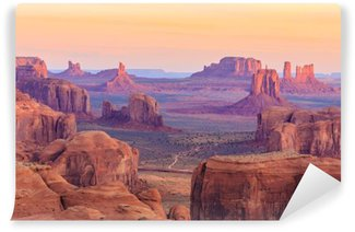 Vinyl Fotobehang Sunrise in Hunts Mesa in Monument Valley, Arizona, Verenigde Staten