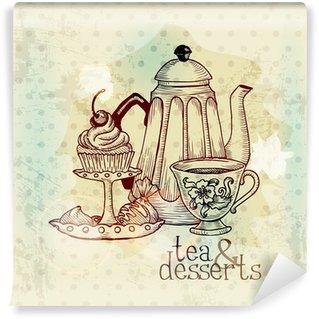 Vinyl Fotobehang Thee en Desserts - Vintage Menu kaart in vector