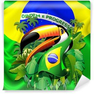 Vinyl Fotobehang Toco Toekan met Brazilië Vlag