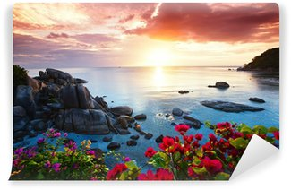 Vinyl Fotobehang Tranquil beach resort, mooie ochtend glorie op de Koh Samui,