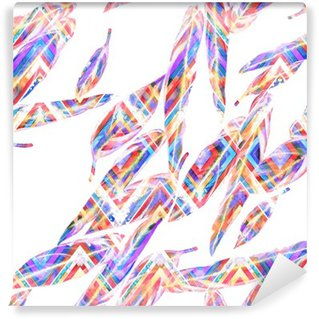 Vinyl Fotobehang Tropische gebladerte naadloos patroon. Kleurrijke aquarel bladeren van exotische Calathea Whitestar plant op zigzag geometrisch patroon, gemengd effect. Textieldruk.