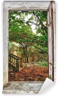 Vinyl Fotobehang Tuin door het raam