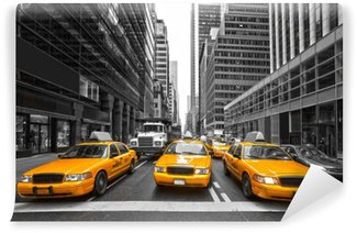 Vinyl Fotobehang TYellow taxi's in New York City, Verenigde Staten.