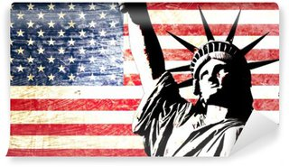 Vinyl Fotobehang Usa vlag standbeeld van vrijheid