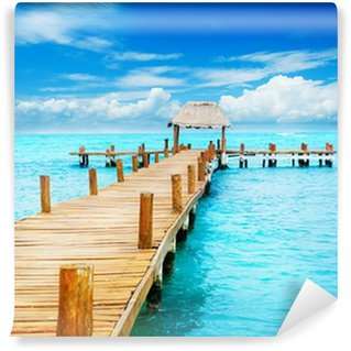 Vinyl Fotobehang Vakantie in Tropic Paradise. Pier op Isla Mujeres, Mexico