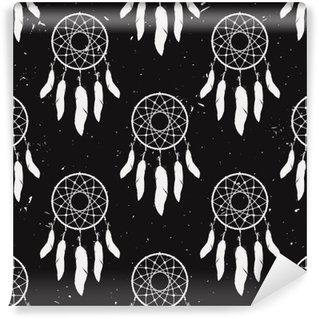 Vinyl Fotobehang Vector grunge zwart-wit naadloze patroon met droom catchers. Boho ontwerp