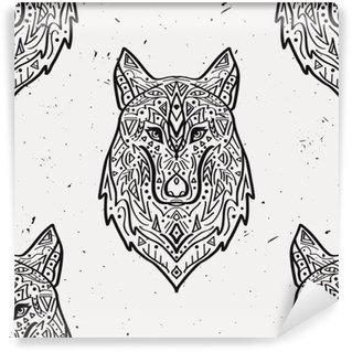 Vinyl Fotobehang Vector grunge zwart-wit naadloze patroon met tribal stijl wolf met etnische ornamenten. Amerikaanse Indische motieven. Boho ontwerp.