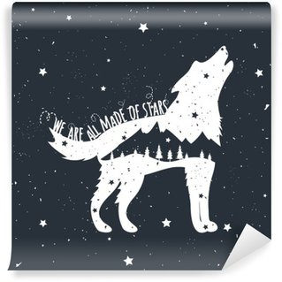 Vinyl Fotobehang Vector illustratie met huilende wolf, bergen en bomen