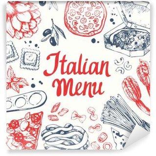 Vinyl Fotobehang Vector illustratie met pasta machine, ravioli en groenten.