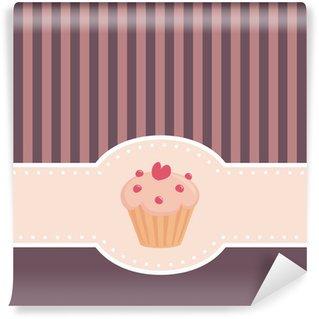 Vinyl Fotobehang Vector kaart of uitnodiging met muffin cupcake en hart