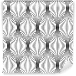 Vinyl Fotobehang Vector naadloze textuur. Moderne geometrische achtergrond. Herhaalde zwart-wit patroon van de golfplaten dunne draden.