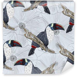 Vinyl Fotobehang Vector schets van een papegaai met bloemen. Hand getrokken illustratie