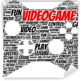 Vinyl Fotobehang Video game word cloud vorm