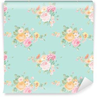 Vinyl Fotobehang Vintage Bloemen Achtergrond - naadloze Floral Shabby Chic Pattern