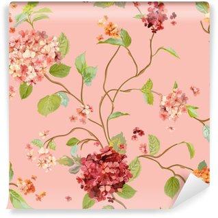 Vinyl Fotobehang Vintage Flowers - Floral Hortensia Achtergrond - Naadloos Patroon