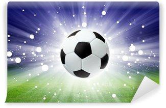 Vinyl Fotobehang Voetbal bal, stadion, licht