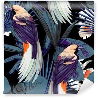 Vinyl Fotobehang Vogels, orchideeën en 's nachts jungle naadloze achtergrond