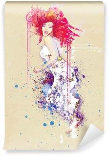 Vinyl Fotobehang Vrouw in de zomerkleding (tekening)