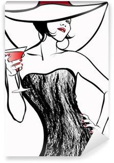 Vinyl Fotobehang Vrouw met een hoed drinken van een cocktail