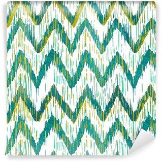 Vinyl Fotobehang Watercolor ikat chevron naadloos patroon. Groen en blauw aquarel. Bohemian etnische collectie.