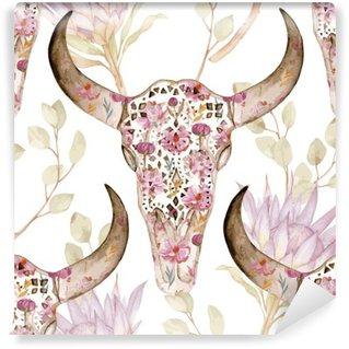 Vinyl Fotobehang Watercolor naadloze patroon met schedel in bloemen, protea. Florale decoratie, vector illustratie