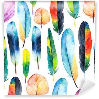 Vinyl Fotobehang Watercolor veren set.Pattern met de hand getekende veren