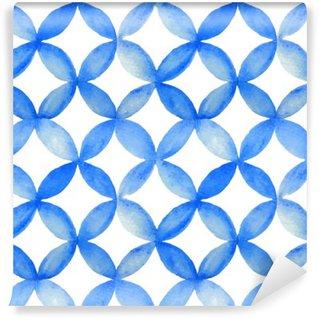Vinyl Fotobehang Waterverf het blauw Japanse patroon.