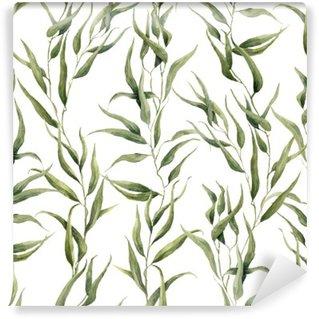 Vinyl Fotobehang Waterverf het groene bloemen naadloze patroon met eucalyptus bladeren. Met de hand geschilderd patroon met takken en bladeren van de eucalyptus op een witte achtergrond. Voor het ontwerp of de achtergrond