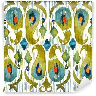 Vinyl Fotobehang Waterverf het groene ikat levendig naadloos patroon. Trendy tribal in aquarel stijl. Pauwenveer.