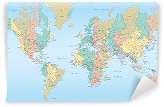 Vinyl Fotobehang Wereldkaart met tijdzones