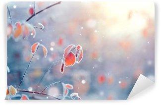 Vinyl Fotobehang Winter natuur achtergrond. Bevroren tak met bladeren close-up