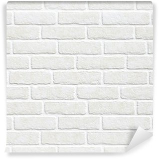 Vinyl Fotobehang Witte bakstenen muur achtergrond.