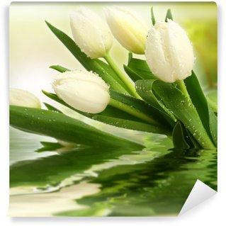 Vinyl Fotobehang Witte tulpen