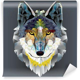 Vinyl Fotobehang Wolf hoofd geometrisch patroon. vector