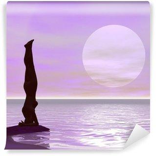 Vinyl Fotobehang Yoga door zonsondergang - 3D render