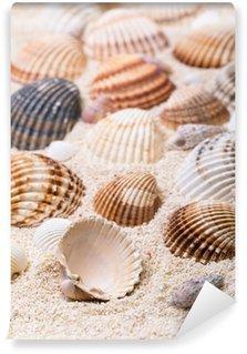 Vinyl Fotobehang Zee schelpen met koraalzand