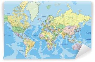 Vinyl Fotobehang Zeer gedetailleerde politieke kaart van de wereld met de etikettering.