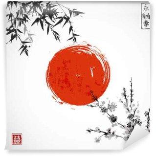 Vinyl Fotobehang Zon, bamboe en sakura in bloei. Traditionele Japanse inkt schilderen sumi-e. Bevat hiëroglief - dubbel geluk.