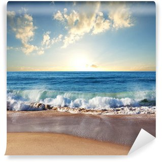 Vinyl Fotobehang Zonsondergang op het strand